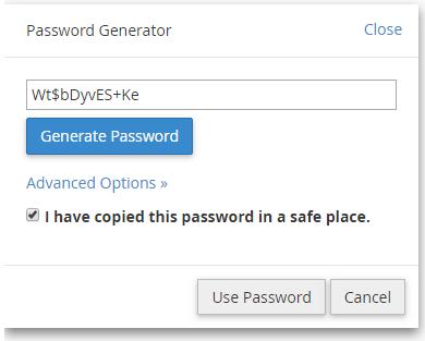 cPanel - uporabi generirano geslo