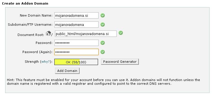 Dodajanje domene - cPanel