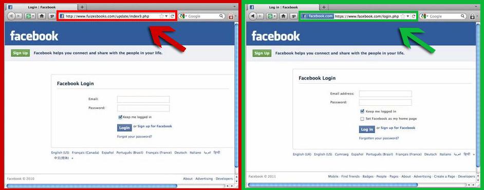 Pristna / ponarejena FB stran