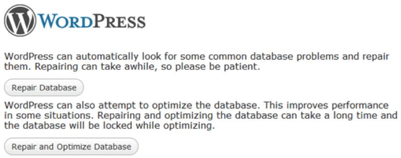 Wordpress popravilo baze