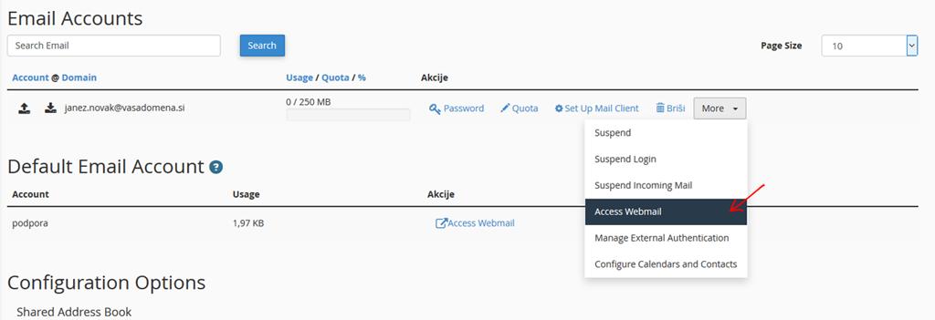 Dostop do Webmail / Access Webmail