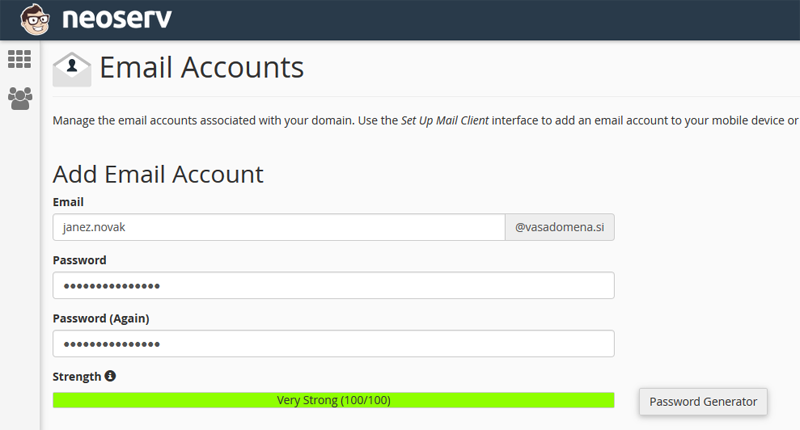 Dodaj e-poštni račun / Add Email Account