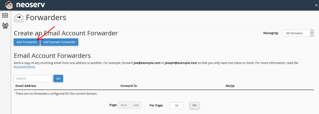Dodaj preusmeritev / Add Forwarder