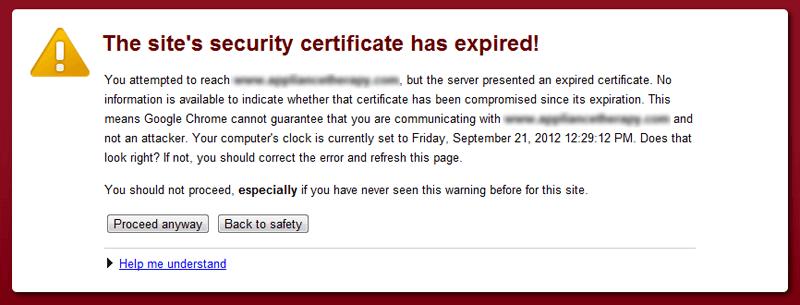 Varnostno opozorilo o poteku SSL certifikata