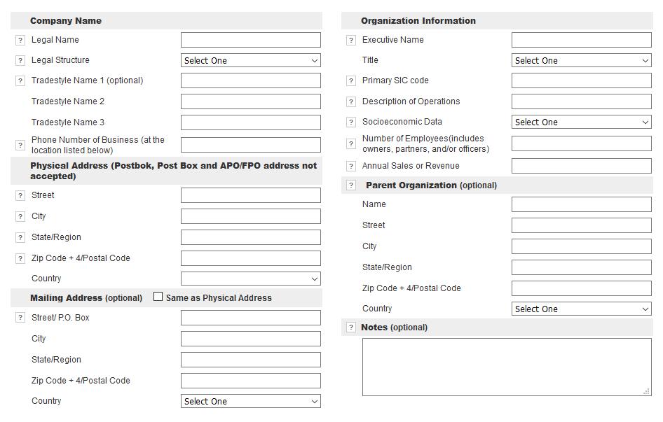 Register D&B - vnos podatkov