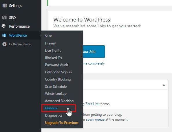 Možnosti Wordfence