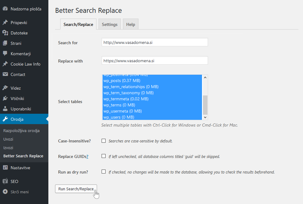 Better Search Replace - sprememba URL naslova