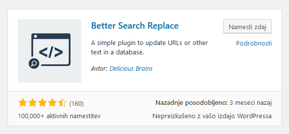 WordPress vtičnik - Better Search Replace