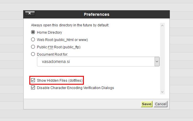 File Manager - prikaz skritih datotek