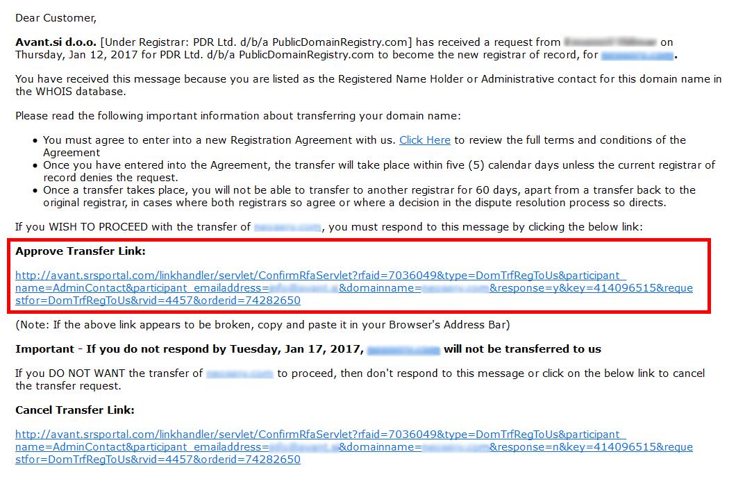 Verifikacija prenosa domene - email