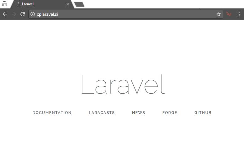 Uspešna namestitev ogrodja Laravel