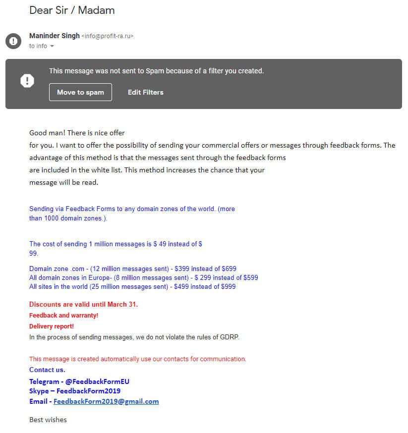 Primer nezaželenega e-sporočila