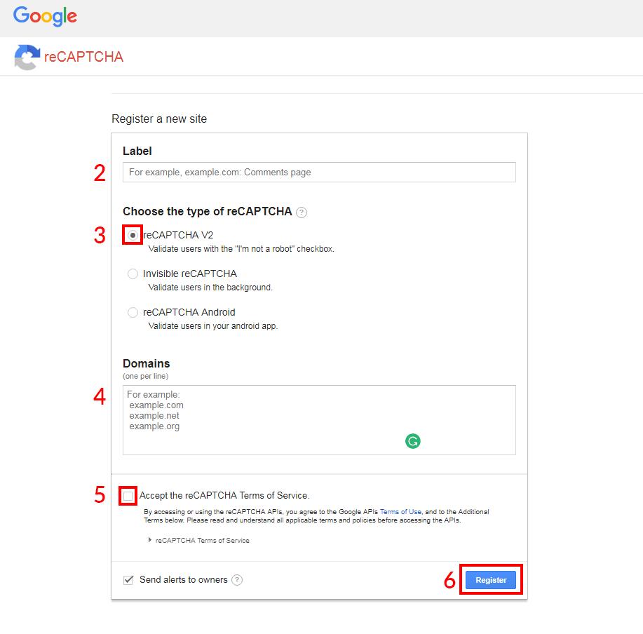 Registracija reCAPTCHA
