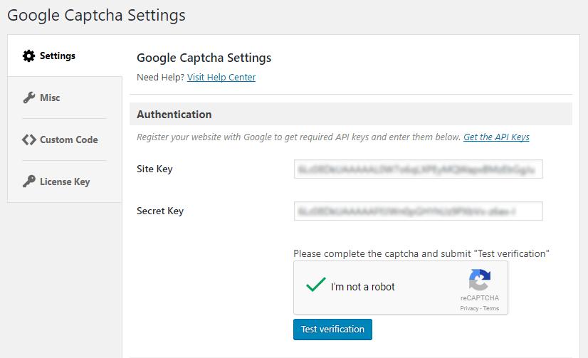 WordPress - Google Captcha (reCAPTCHA)