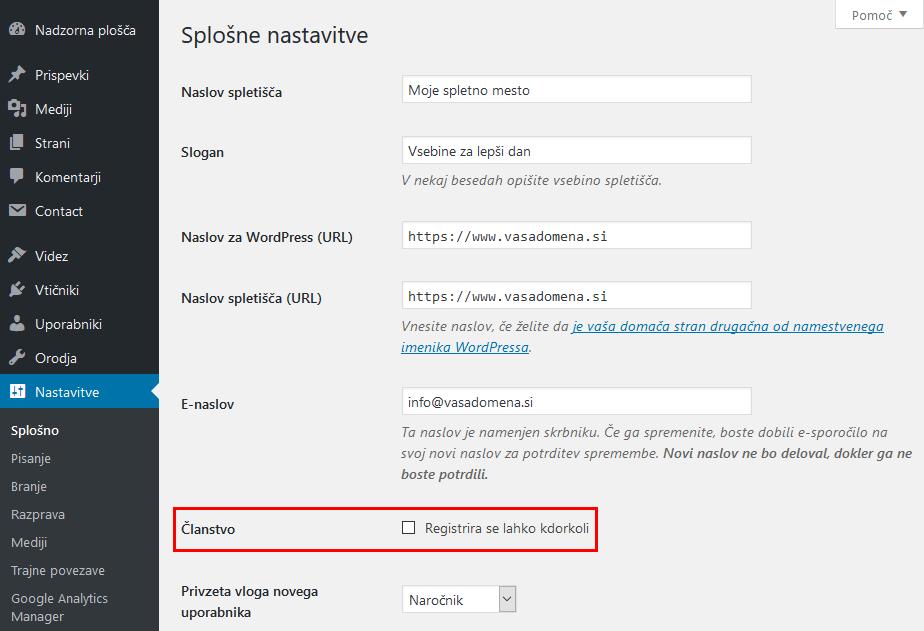 WordPress - preprečitev registracije uporabnikov