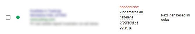 Neodobreni Google AdWords oglasi - Zlonamerna programska oprema