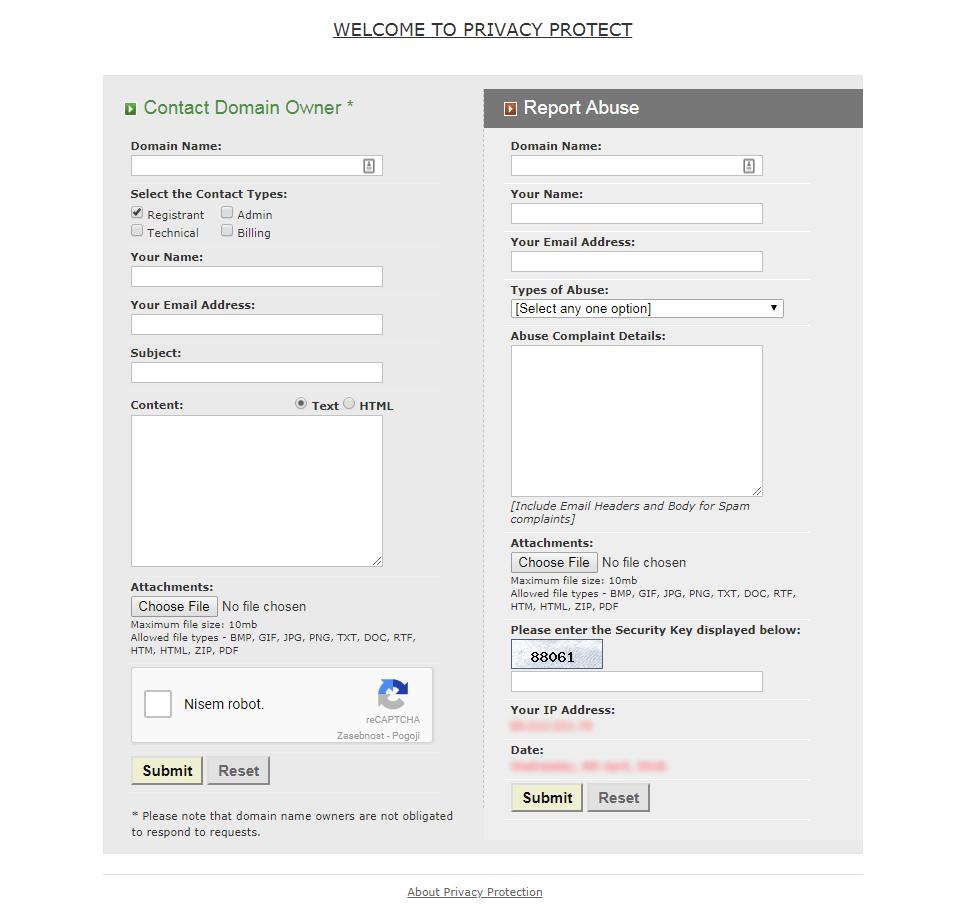 Obrazec privacyprotect.org