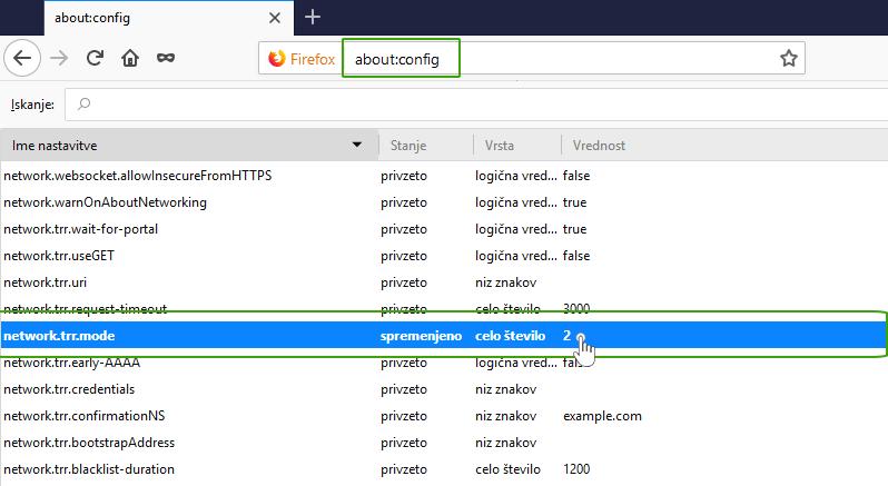 Nastavitev TRR v Mozilli Firefox