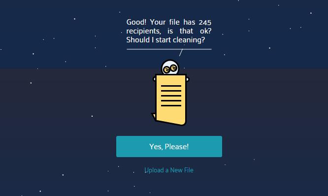 MoonMail - potrditev seznama