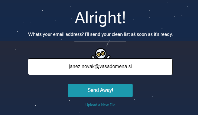 MoonMail - vpis e-poštnega naslova