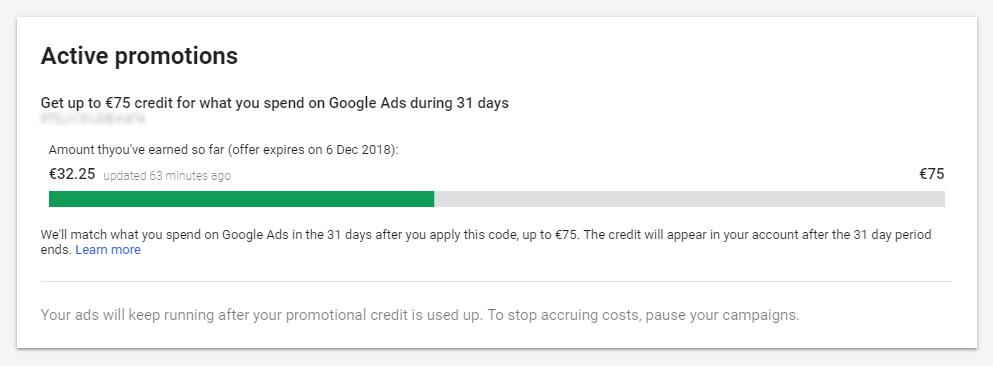 Google Ads - Aktivna promocijska koda