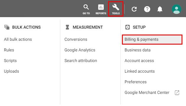 Google Ads - ORODJA - Obračunavanje in plačila