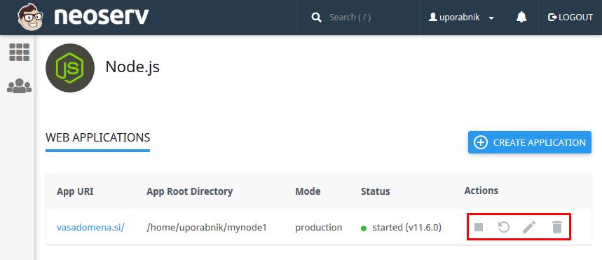 Node.js aplikacije - Actions