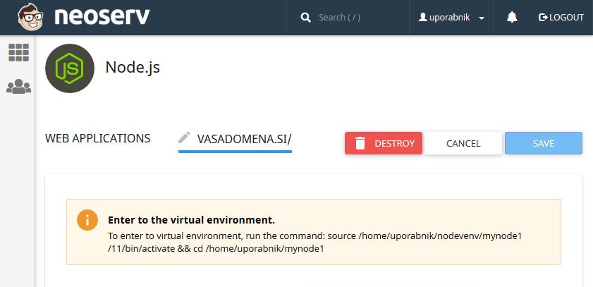 Node.js virtualno okolje
