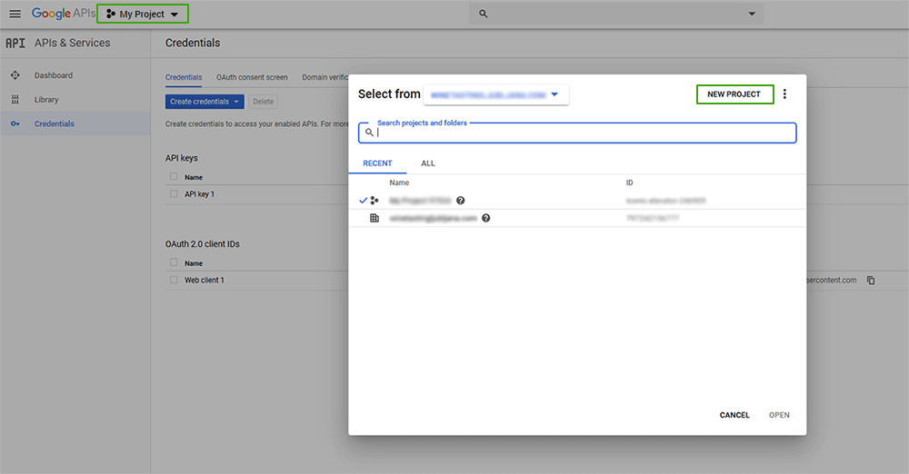 Google Developer Console - Nov projekt