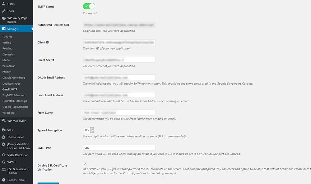 Nastavitve vtičnika Gmail SMTP