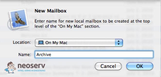 Mac Mail - izbira lokacije in imena arhivske mape