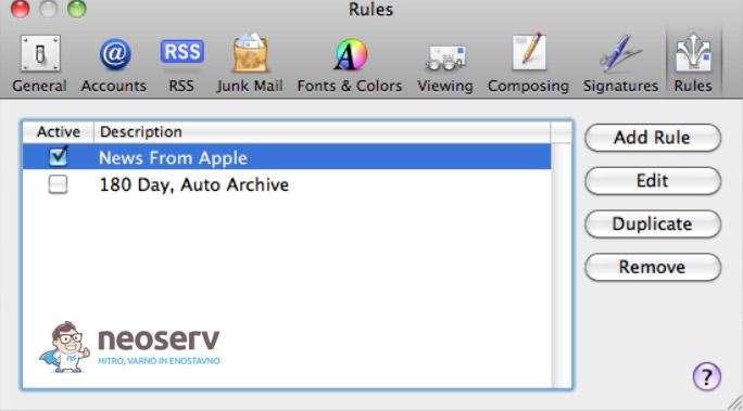 Mac Mail - nastavitev pravil