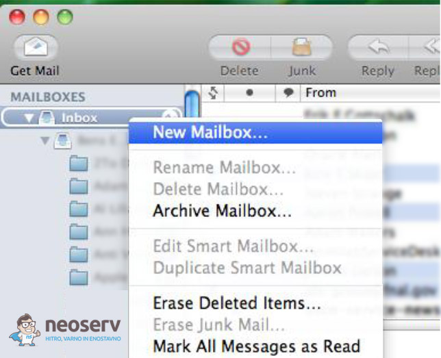 Mac Mail - New Mailbox...