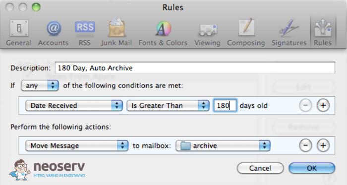 Mac Mail - premik starih sporočil v arhiv