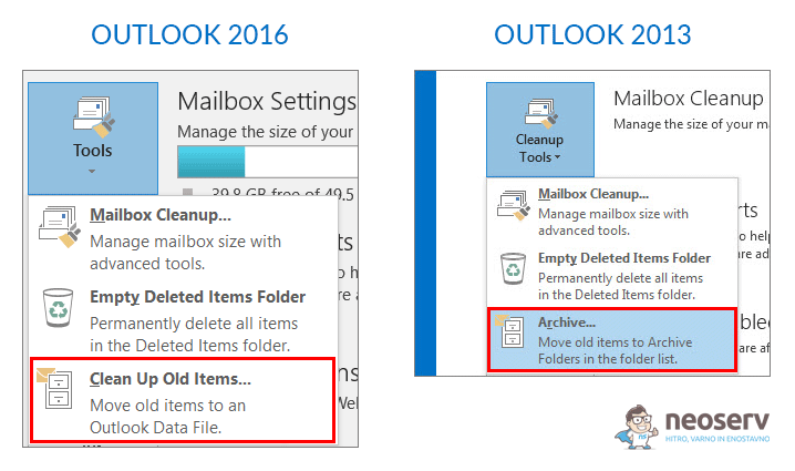 Outlook – arhiviranje e-pošte