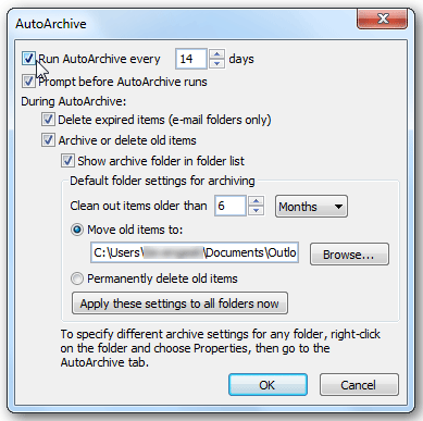 Outlook – nastavitve AutoArchive