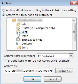 Outlook – nastavitev arhiviranja e-pošte