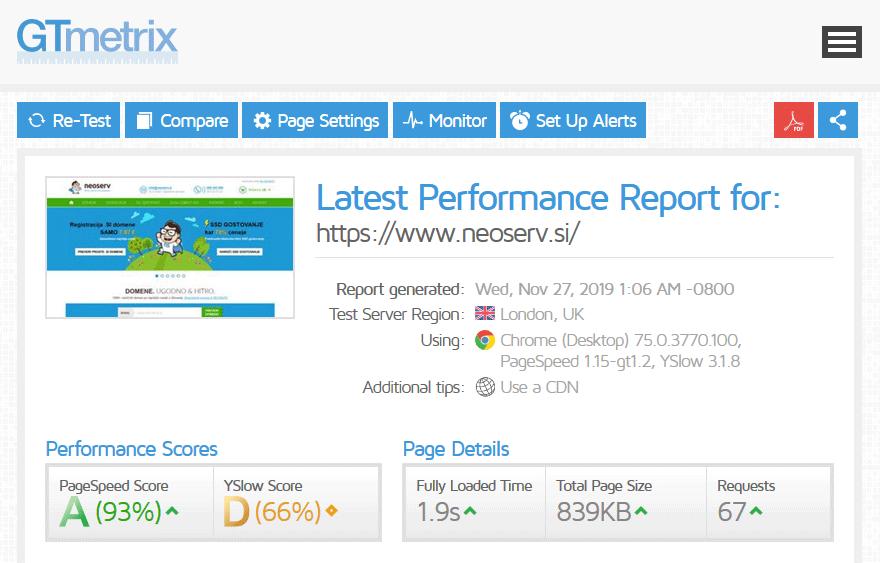 GTmetrix - rezultati testa hitrosti
