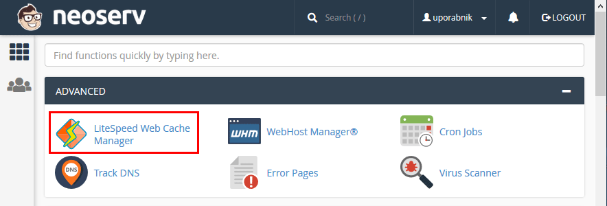 cPanel - LiteSpeed Web Cache Manager