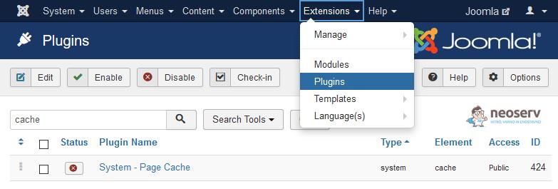 Deaktivacija vtičnika System - Page Cache