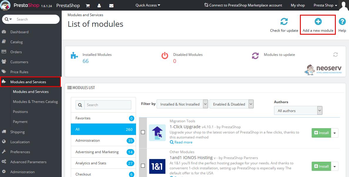 PrestaShop – Dodaj nov modul