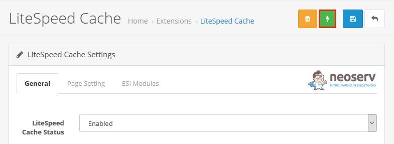LiteSpeed Cache za OpenCart - Osvežitev predpomnilnika