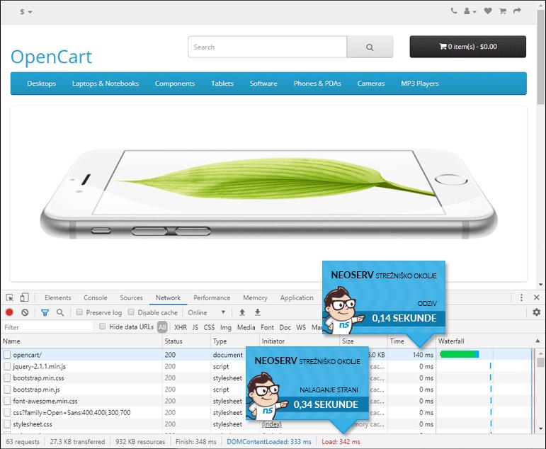 OpenCart - čas nalaganja brez LiteSpeed Cache