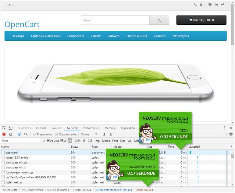 OpenCart - čas nalaganja z LiteSpeed Cache