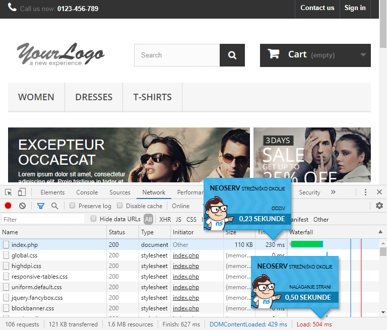 PrestaShop - čas nalaganja brez LiteSpeed Cache