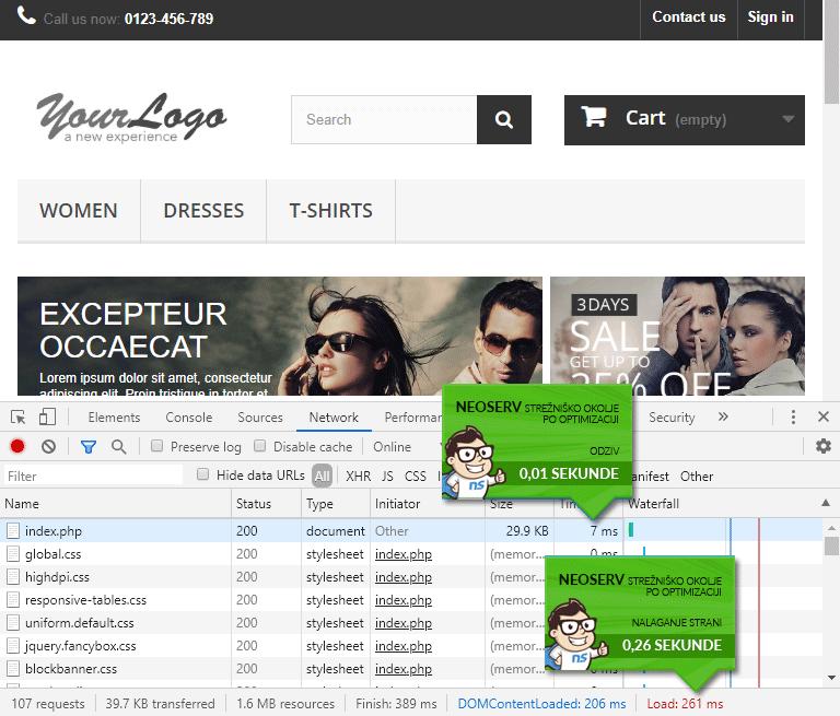 PrestaShop - čas nalaganja z LiteSpeed Cache