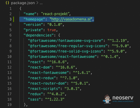 Package.json - homepage atribut