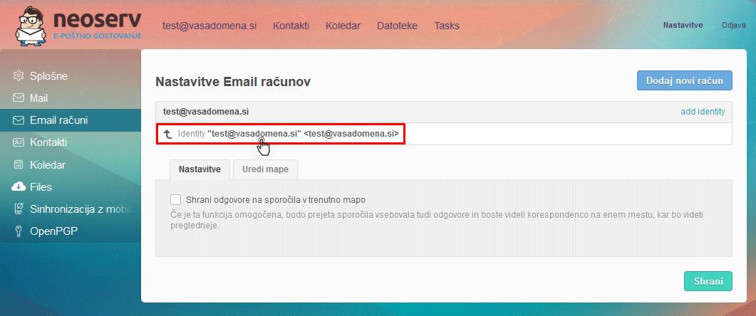 Afterlogic - Nastavitve Email računov