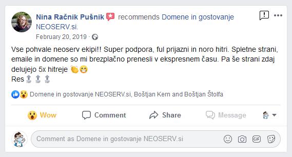Pohvala hitrosti strežnikov na Facebook (Nina)