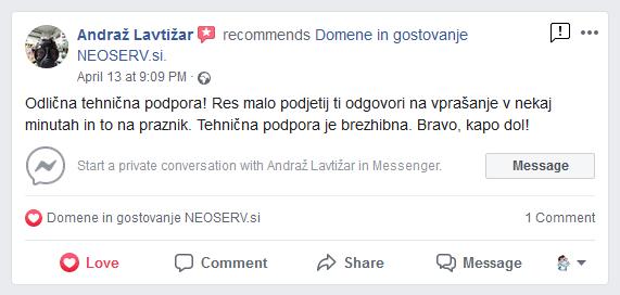 Pohvala podpore na Facebook (Andraž)